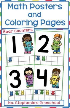 These teddy bear counter 10-frame number posters will brighten up your preschool classroom. Also included are corresponding coloring pages! Preschool Classroom, Preschool Learning, Everything Preschool, Math Poster, Number Activities, Number Recognition, Classroom Inspiration, Curriculum, Counter