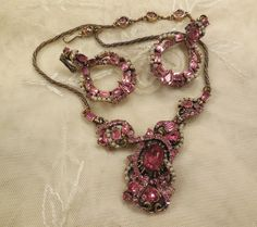 Vintage 1953 Hollycraft Pink Rhinestone and Faux Seed Pearl Statement Drop Necklace and Earrings