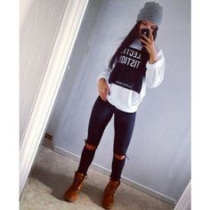 Hat: jeans blouse top sweatshirt timberlands socks t-shirt sweater... ❤ liked on Polyvore featuring tops, long-sleeve shirt, shirt top, destroyed shirt, distressed top and ripped white shirt