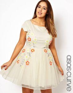 Floral embellished skater dress