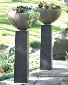 "Modern Planter $250+75 19""Dx40""T.  Handcrafted bowl and pedestal are made of weather-resistant crushed stone, resin, styrene, and fiberglass with a lacquer finish"