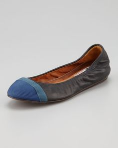 Grosgrain Cap-Toe Leather Ballerina Flat, Black/Blue by Lanvin at Neiman Marcus.