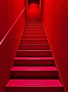 """Escalier rouge"" by Claude Rozier-Chabert Rainbow Aesthetic, Aesthetic Colors, Aesthetic Vintage, Aesthetic Fashion, Escalier Art, I See Red, Simply Red, Red Rooms, Red Walls"