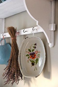 we need a shelf like this for our kitchen! complete with hanging dried flowers x c