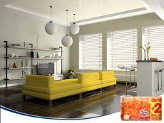 El amarillo es un color difícil de combinar en la decoración del hogar. Para que resalte y provoque el mejor efecto, utiliza tonos neutros como blancos, negros y grises a su alrededor.