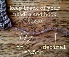 Top tip: Keep track of your needle or hook sizes