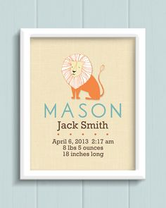 Personalized Nursery Birth Print by jpurifoy on Etsy