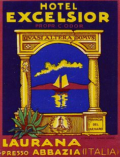 Trub label for Hotel Excelsior Laurana Abbazia Italy