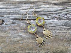 Green Flower & Hammered Brass Teardrop Earrings.  Earthy Boho Rustic Dangles.  E- 577 by aonJewelryDesigns on Etsy