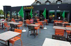 Restaurant La Fermette in France using UPM ProFi Deck Stone Grey for their outdoor terrace. Deck, Grey Stone, Terrace, Table, Restaurants, Hotels, Outdoor, France, Furniture