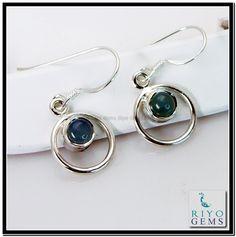 Blue Chalcedony Silver Earring Gemstone Jewelry 925 Sterling Silver Jewelry by Riyo Gems Handmade Jewellery http://www.riyogems.com