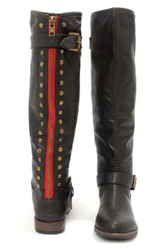 Black Studded Knee-High Riding Boots at LuLus.com!