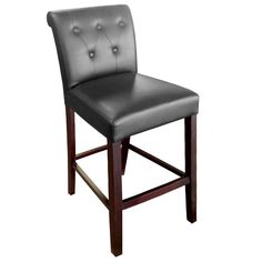 """Add sophisticated yet comfortable seating to your pub, bar, or restaurant with this Holland Bar Stool 320025ESBLKVINYL Arie espresso wood counter height stool with back and black vinyl seat! This parsons style stool boasts a tufted back and decorative stitching to provide a comfortable and eye-catching piece in your establishment. The sleek, black vinyl upholstery mimics the look and feel of natural leather, but with added softness and durability to withstand constant use. Its 19"""" wide ... 30 Bar Stools, Counter Height Stools, Wood Counter, Swivel Bar Stools, Bar Counter, Living Room Upholstery, Furniture Upholstery, Condo Furniture, Upholstery Repair"""