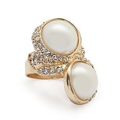 John Richard-Double Pearl Gold Wrap Ring