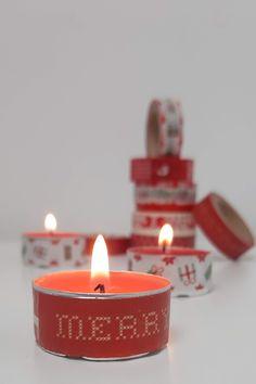 Weihnachtliche Teelichter mit Washi Tape Diy Weihnachten, Washi Tape, Tea Lights, Blog, Candles, Gift Ideas, Gifts, Creative, Diys