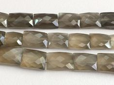 Grey Moonstone Faceted Chewing Gum Cut Beads Grey by gemsforjewels