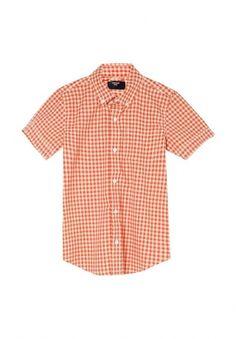 """Хлопковая рубашка в клетку виши"""". Застёжка на пуговицы, воротник с пуговицами на уголках, короткие рукава, закруглённая линия низа, на груди накладной карман"""" http://j.mp/1rQlL2u"""