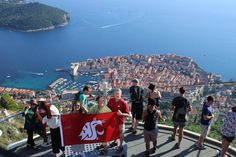 Waving the Flag in Dubrovnik, Croatia! Dubrovnik Croatia, Dolores Park, Around The Worlds, Flag, Waves, College, Sun, Mountains, Nature