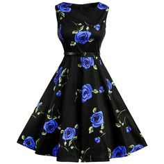Floral Print Cotton Vintage Formal Tea Dress ($20) ❤ liked on Polyvore featuring dresses, vintage formal dresses, tea party dresses, floral day dress, formal dresses and vintage tea party dresses