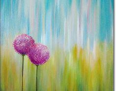 Landschap schilderen oorspronkelijke Floral getextureerde abstracte kunst Acryl schilderij Turquoise hedendaagse beeldende kunst Canvas 24 x 24 x 1, 5 (60cmx60cmx3, 6cm)