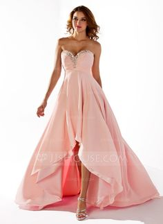 Prom Dresses - $126.49 - Empire Sweetheart Asymmetrical Chiffon Prom Dress With Ruffle Beading Sequins (018020806) http://jjshouse.com/Empire-Sweetheart-Asymmetrical-Chiffon-Prom-Dress-With-Ruffle-Beading-Sequins-018020806-g20806
