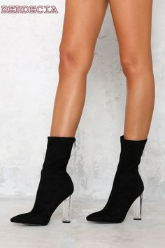 73.00$  Buy here - http://aliidb.shopchina.info/1/go.php?t=32807512520 - pointed toe mid calf short boots exquisite transparent heel woman boots unique design shoes free shipping black riding boots  #bestbuy