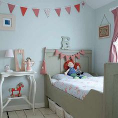 Small White Themed Kids Bedroom Design Ideas with Gray Wood Bed Frame that have Beautiful Floral Pattern White Bedding complete with the Headboard Decorating also Vintage White Wood Bedside Table complete with the Table Lamp