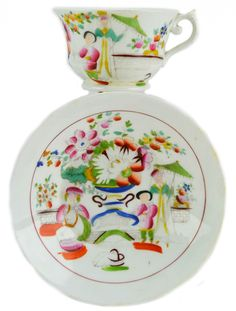Cup-English-Tea-Set-Antique-1820s-Saucer-Chinoiserie-Attractive-Hilditch-Son-LS