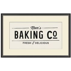 Pottery Barn Mom's Baking Co. Framed Print ($169) ❤ liked on Polyvore featuring home, home decor, wall art, quote wall art, pottery barn, giclee wall art, framed quotes wall art and word wall art