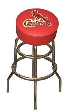 """MLB Team Logo 30"""" Bar Stool MLB Team: St. Louis Cardinals by Imperial. $129.99. 26-3008 MLB Team: St. Louis Cardinals Features: -Commercial quality, chrome plated, tubular steel frame.-360 degree swivel seat.-Team logos silk screened on the underside of heavy duty clear vinyl to prevent the log from scratching off.-3.5'' Thick seat. Color/Finish: -Each bar stool is coordinated to the individual team colors. Dimensions: -Dimensions: 30'' H x 14.5'' W."""