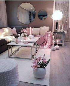 Living room setup grey pink and white colour scheme - - Wohnkultur Ideen - Wohnzimmer Pink Living Room, Apartment Living Room Design, Apartment Living Room, Room Inspiration, Apartment Decor, Living Room Grey, Room Setup, Living Room Decor Cozy, Living Decor
