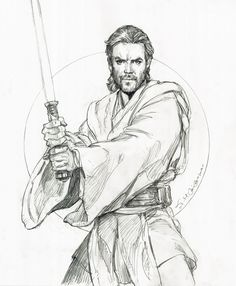 Star Wars, Obi-Wan Kenobi Drawing-Iain McCaig Comic Art