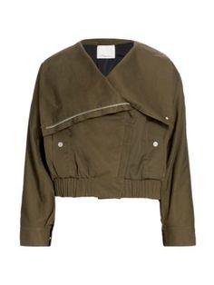 $650.0. 3.1 PHILLIP LIM Jacket Oversized Collar Twill Jacket #31philliplim #jacket #cotton #clothing Cropped Trousers, 3.1 Phillip Lim, Welt Pocket, Military Jacket, Bomber Jacket, Leather Jacket, Long Sleeve, Sleeves, How To Wear