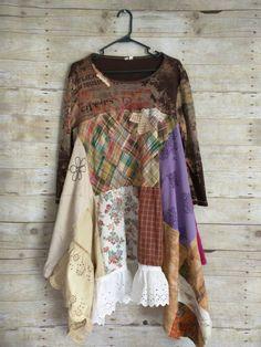 Pink Sunshine Shabby Funky ragdoll upcycled patchwork knit