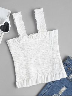 Shop for Square Neck Smocked Tank Top WHITE: Tank Tops M at ZAFUL. Only $12.99 and free shipping!