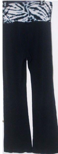 Women's Hard Tail Black Tie Dye Stretch Forever Fold Over Top Capri Size Medium #HardtailForever #PantsTightsLeggings