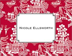 Red Chinoiserie Notecards
