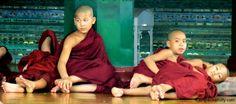 Novice monks Shwedagon Paya, Yangon Myanmar