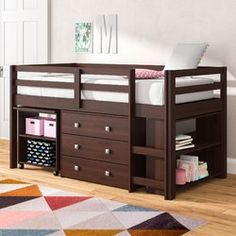 Viv + Rae Senger Twin Low Loft Bed with Bookcase and Drawers Bed Frame Color: Dark Cappuccino Bunk Beds With Drawers, Bunk Beds With Stairs, Kids Bunk Beds, Loft Bed Frame, Bed Frames, Bunk Bed Plans, Low Loft Beds, Twin Platform Bed, Ikea