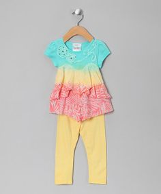 Take a look at this Yellow Triple Dip-Dye Tunic & Leggings - Toddler & Girls by Freckles + Kitty on #zulily today!