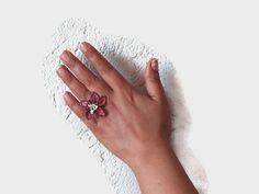 Pink Oya Lace Crochet Flower Ring Large Statement by Nakkashe