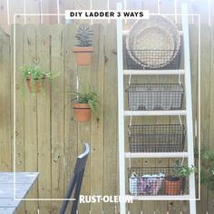 Level up your outdoor decor game with three DIY ladder ideas made with Rust-Oleum Chalked Paint and Varathane. Serve up some smiles with a DIY serving station ladder, perfect for dishing out meals and entertaining guests; go back to your DIY roots with a fun plant stand ladder to show off your succulents; or personalize your poolside patio with a DIY pool storage ladder that's perfect for organizing your fun in the sun. #prideinthemaking #DIY #paint #wood #stain #outdoor #party #decor #maker Diy Ladder, Diy Blanket Ladder, Ladder Decor, Diy Garden Decor, Diy Home Decor, Diy Pool, Diy Patio, Patio Ideas, Backyard Ideas
