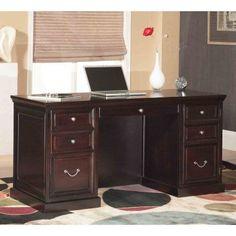 kathy ireland Home by Martin FL660 Fulton Space Saver Double Pedestal Desk - FL660, Durable
