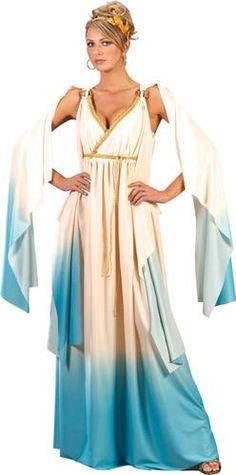 Adult Greek Goddess Blue Womens Halloween Costume Dress Up