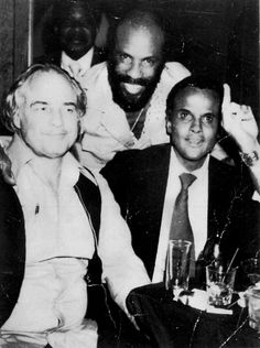 Marlon Brando with Tomas Lopez & Harry Belafonte, ca. 1975.