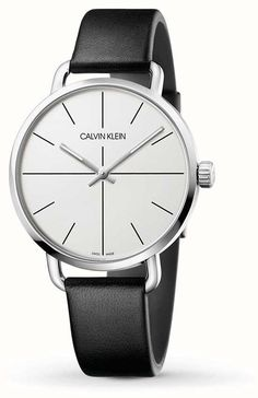 Calvin Klein | Even Extension Watch | Black Leather Strap | White Dial | K7B211CY - First Class Watches™ Calvin Klein Watch, Calvin Klein Men, Mens Dress Watches, Watches For Men, Valentines Day For Men, Leather Case, Black Leather, Free Delivery, Clocks