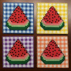 Watermelon Gingham Coasters Plastic Canvas Cross by Hunibears Plastic Canvas Books, Plastic Canvas Stitches, Plastic Canvas Coasters, Plastic Canvas Crafts, Plastic Canvas Patterns, Peler Beads, Canvas Designs, Tissue Box Covers, Diy Canvas