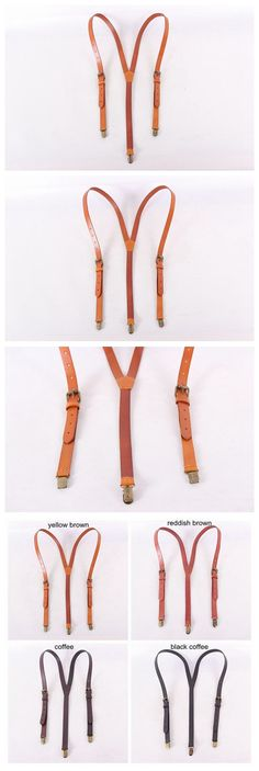 GENUINE LEATHER SUSPENDERS / GROOMSMAN WEDDING SUSPENDERS IN YELLOW BROWN