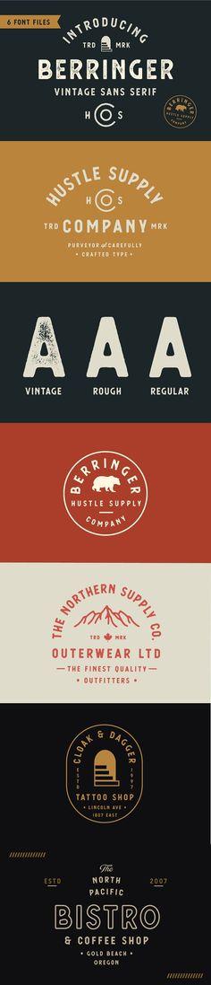 Berringer - Vintage Type Family by Hustle Supply Co. on @creativemarket
