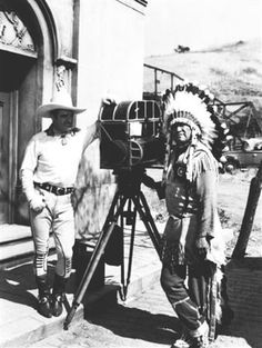Tom Mix on location with noted Indian athlete turned actor Jim Thorpe. (Thanx to Bobby Copeland.)